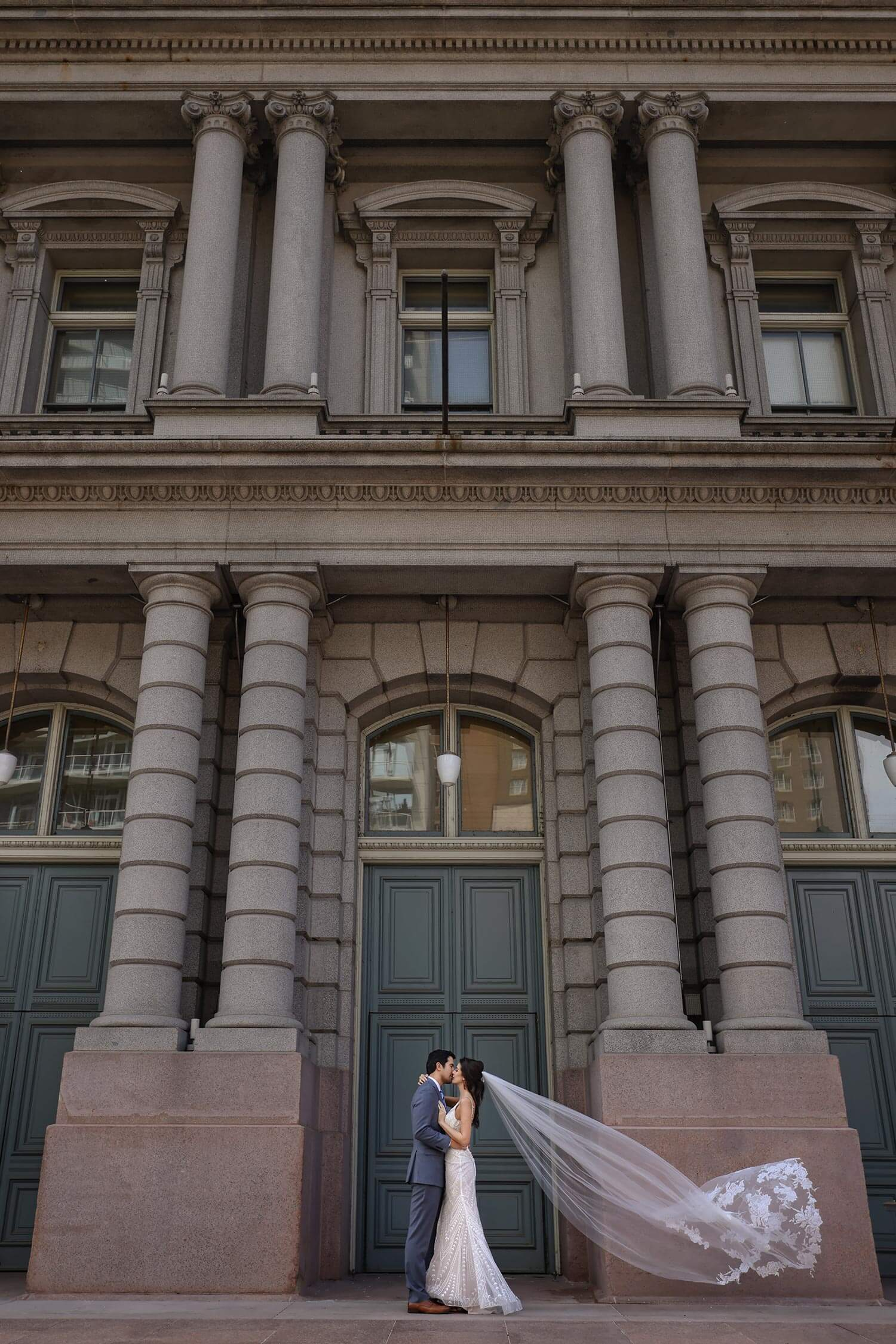 Scene 3: Bride & groom at the Old Post Office in St. Louis with the Canon R5 and Sal Cincotta
