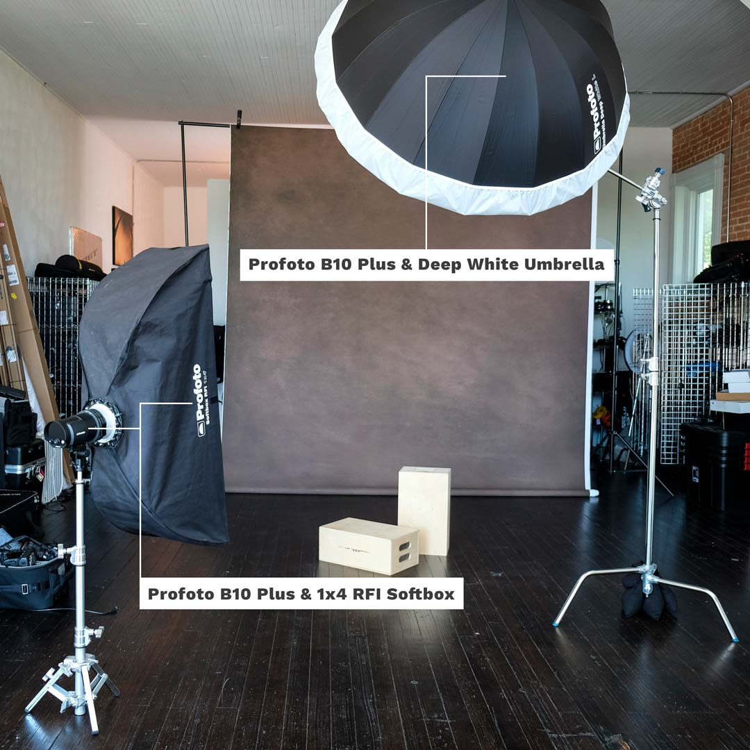 Lighting setup for the shoot with 2 Profoto B10 Plus strobes