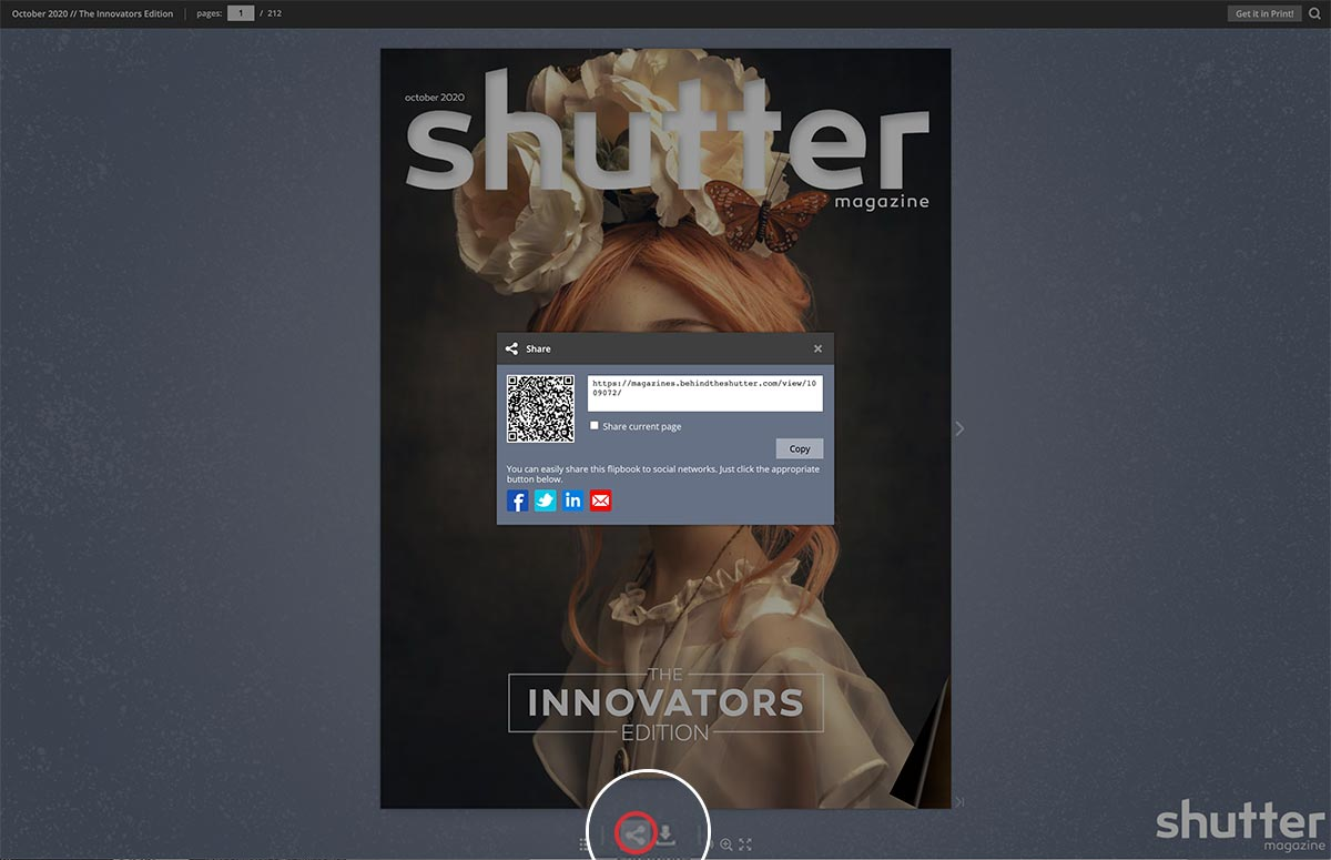 Social sharing in the digital magazine